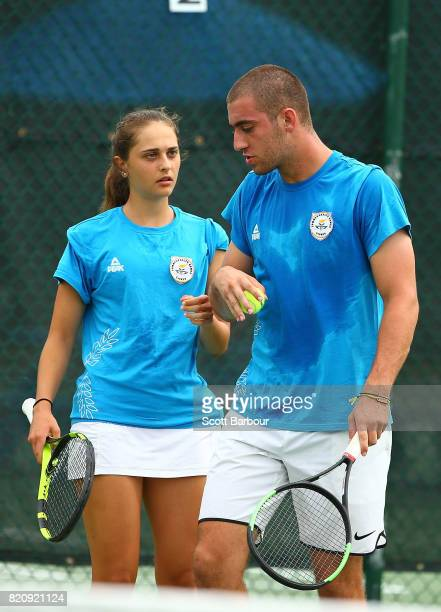 Eleftherios Neos and Eliza Omirou of Cyprus compete against Alexandra Hunter and Hamish Stewart of Scotland in the Mixed Doubles Quarterfinal tennis...
