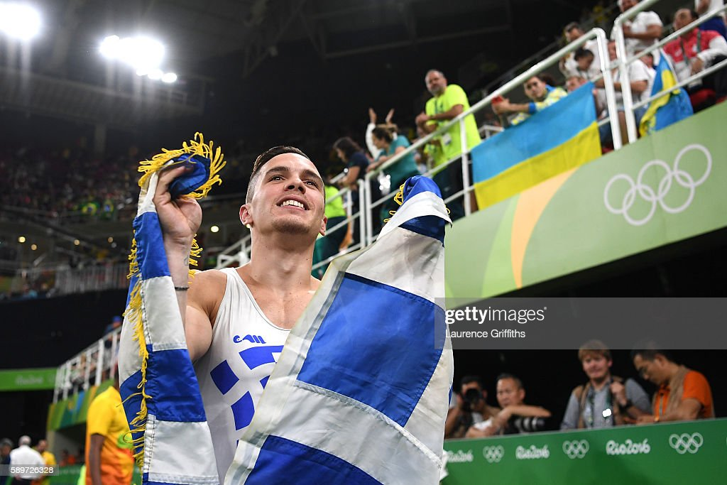 Eleftherios Petrounias of Greece celerbates winning the gold medal in the Men's Rings on day 10 of the Rio 2016 Olympic Games at Rio Olympic Arena on...