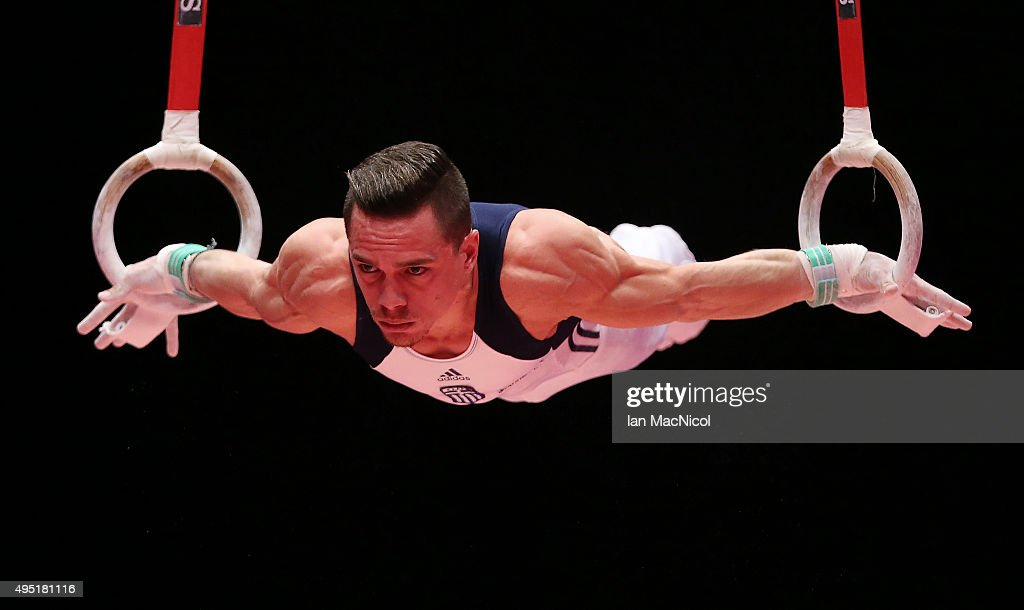 Eleftherios Petrounias of Greece competes on the Rings during day nine of World Artistic Gymnastics Championships at The SSE Hydro on October 31 2015...