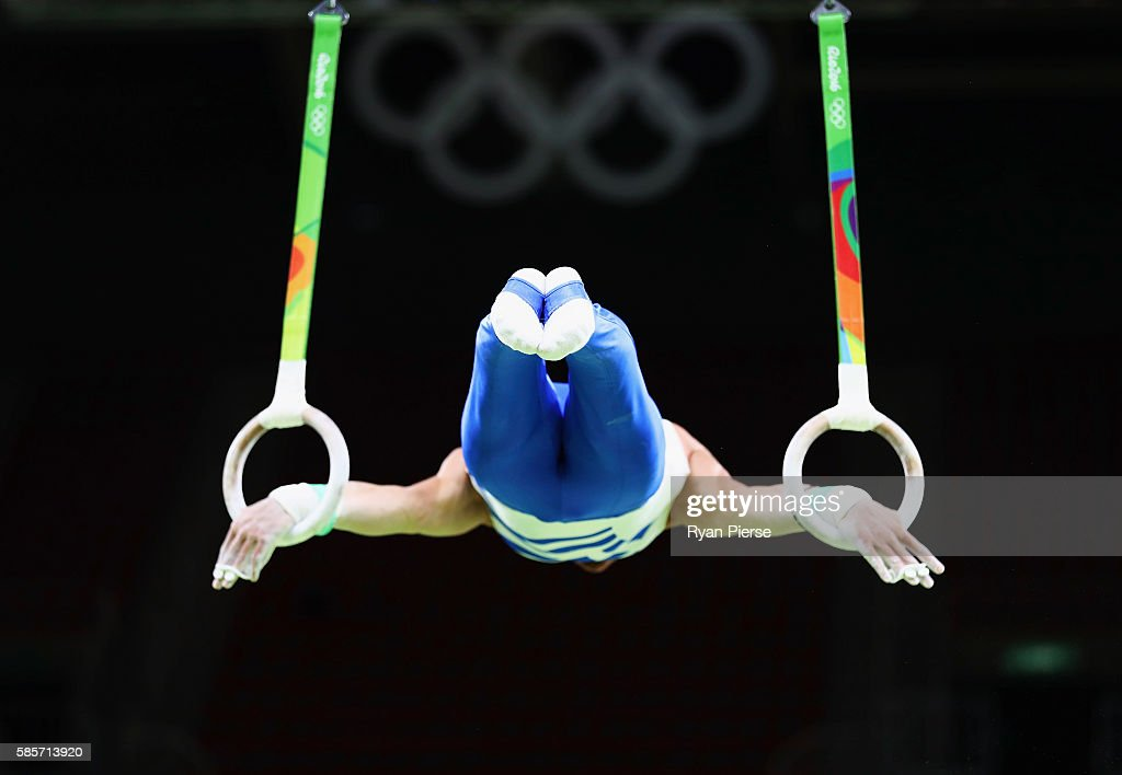 Eleftherios Petrounias of Greece trains on the rings ahead of the Artistic Gymnastics Event at the Olympic Park on August 3, 2016 in Rio de Janeiro, Brazil.