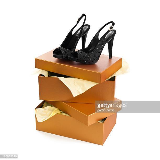 Elegance pair of black heels shoes isolated on white background