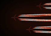 Elegant background with three airliners side by side with red trails