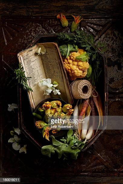 Elegant basket of vegetables