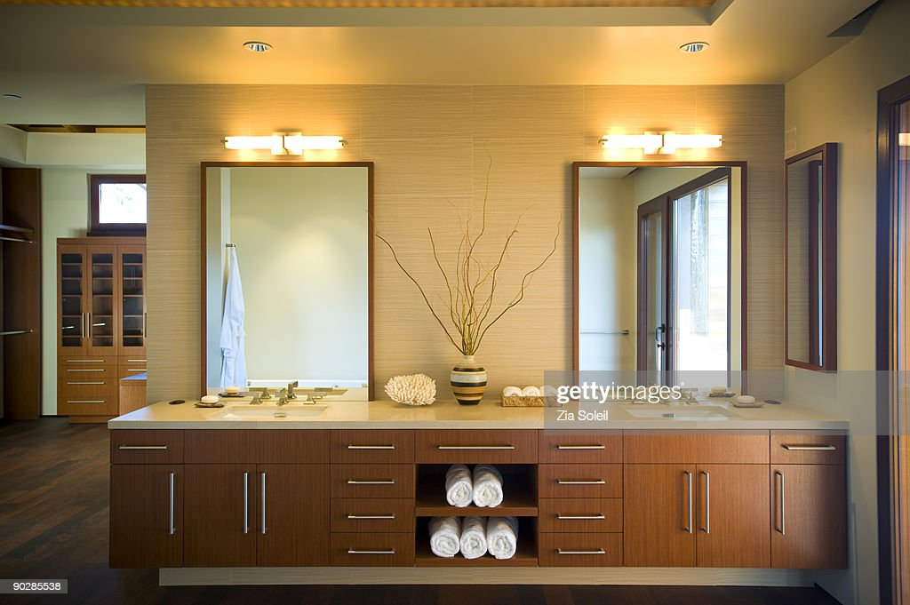 Elegant bathroom with two sinks : Stock Photo