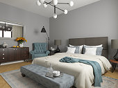 modern bedroom interior, 3d render