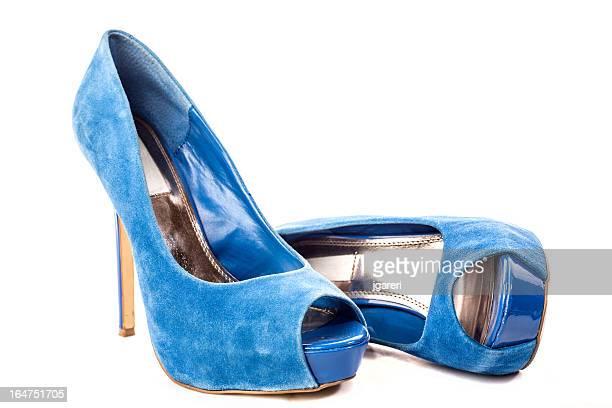 Elegante blaues Veloursleder mit hohem Absatz