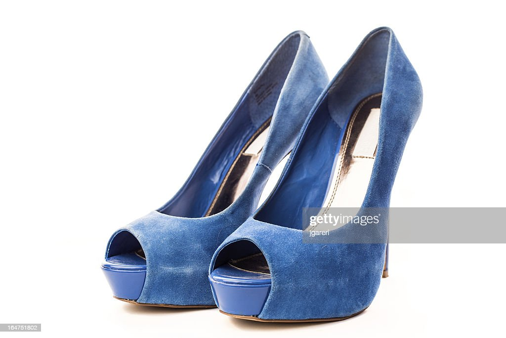 Elegant blue suede high heels