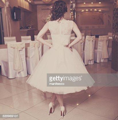 Elegant bride  wearing beautiful dress in restaurant. : Stock Photo