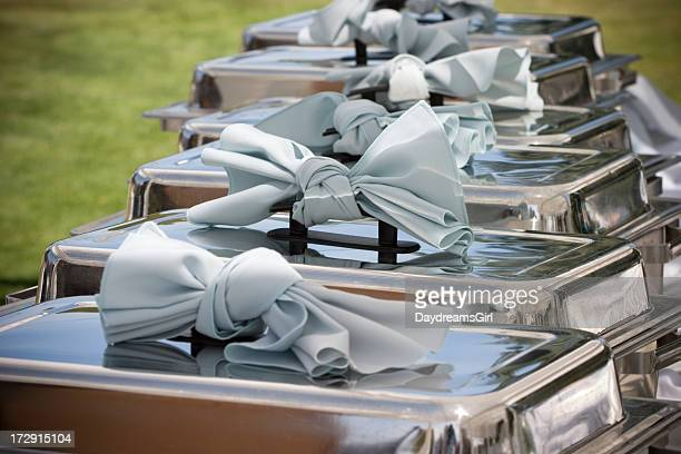 Elegant Buffet Table with Row of Food Service Steam Pans