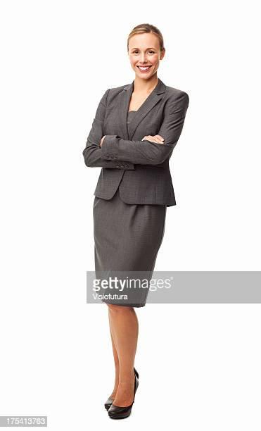 Elegante donna d'affari sorridente isolata