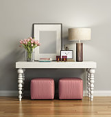 Rendering of an Elegant chic brown console table with stools