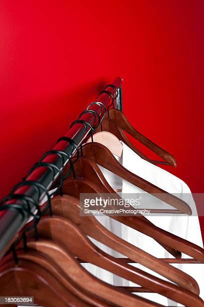 elegant clothing organizer hung on red wall.