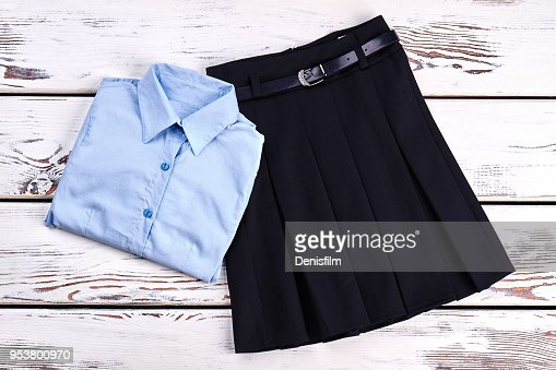 Elegant cotton shirt and skirt. : Stock Photo