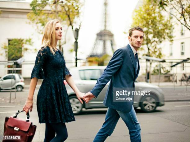 Elegant couple in Paris