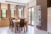 Picture of elegant beige dining room design