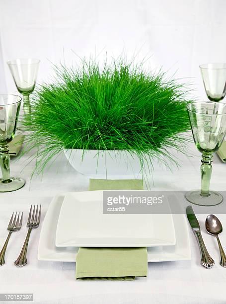 Elegante umweltfreundliche Tisch mit Gras Zentrum