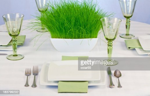 Elegant Eco-Friendly Table with Grass Centerpiece