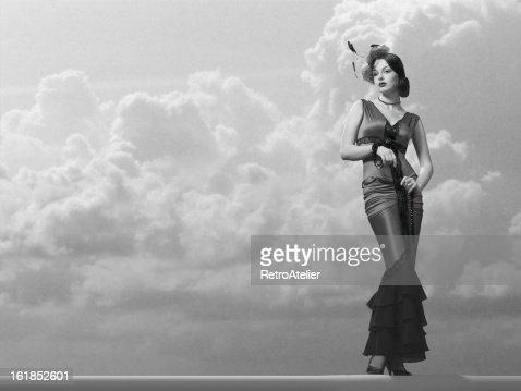 Elegant Fashion Model in a Classic Film Noir Style.