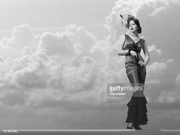Elegante Mode Model in einem klassischen Film-Noir-Stil.
