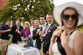 Elegant friends having a party on the lawn