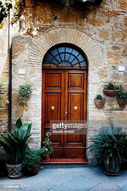 Elegant Front Door with Vase. Color Image