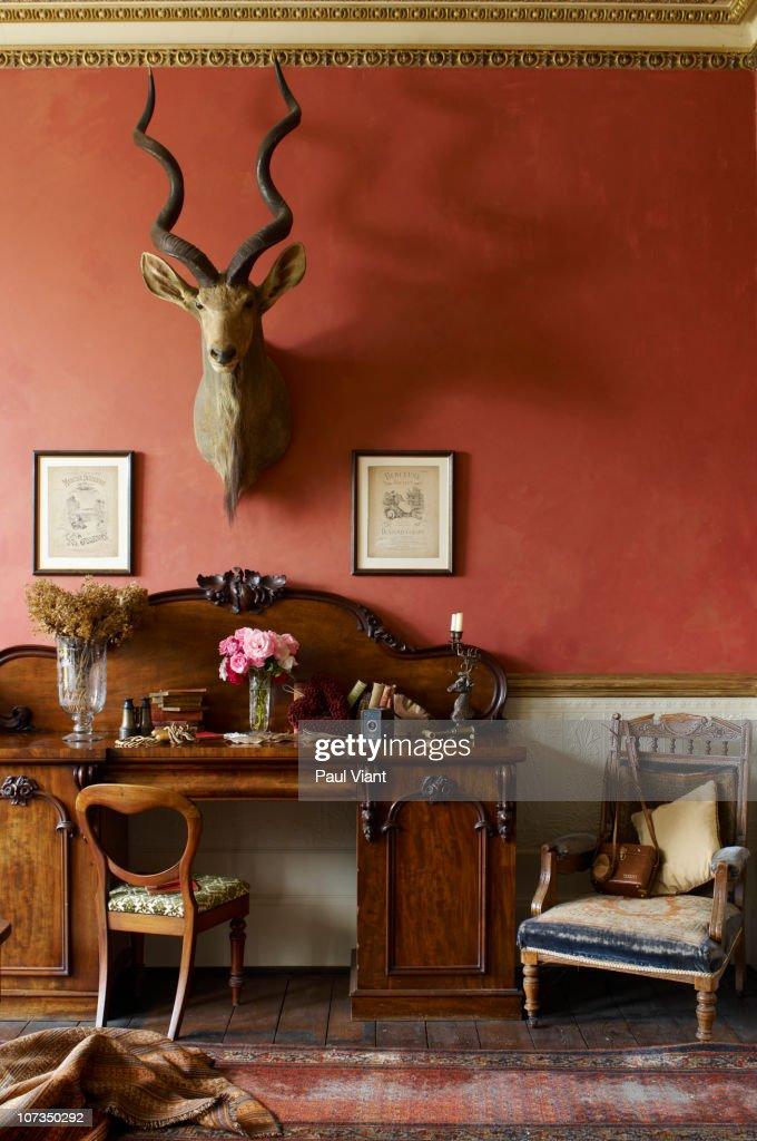 elegant furniture in drawing room. : Stock Photo