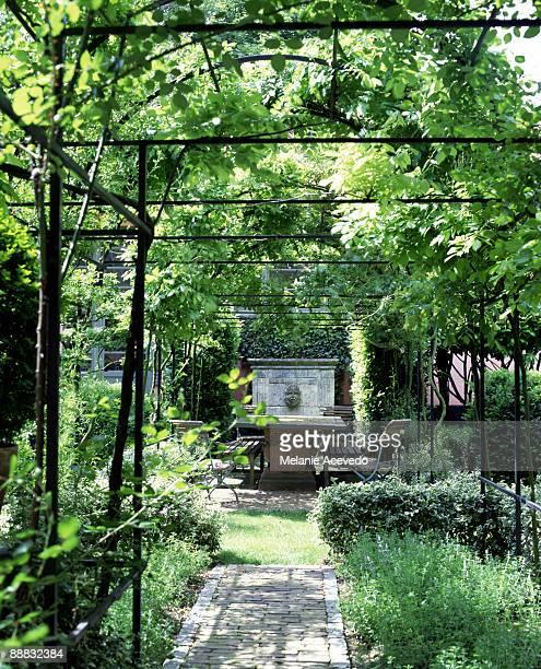 Elegant garden with arbor