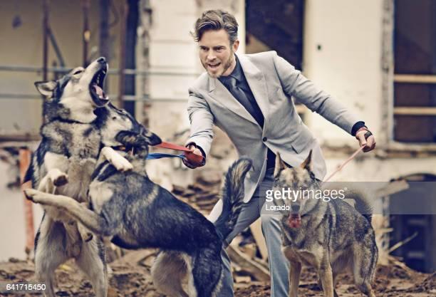 Élégant bel homme avec chien pack sur un chantier de construction