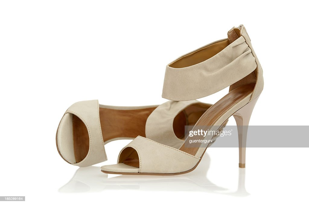 elegant high heels sandals with ankle strap in nude color stock photo getty images. Black Bedroom Furniture Sets. Home Design Ideas