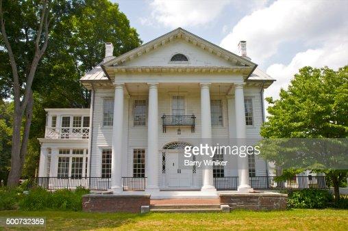 Elegant house with columns on farm