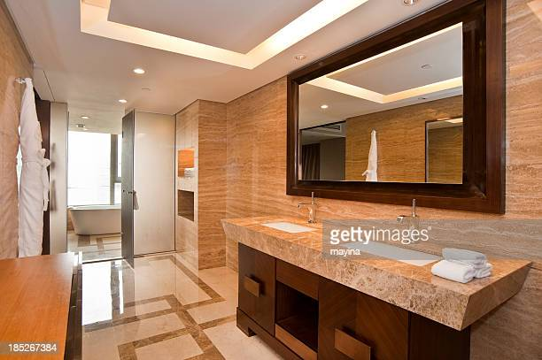 Elegant marble bathroom with two sinks