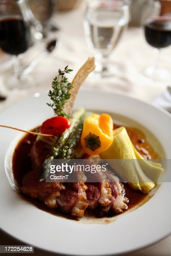 Elegant meal with duck meat. : Stock Photo