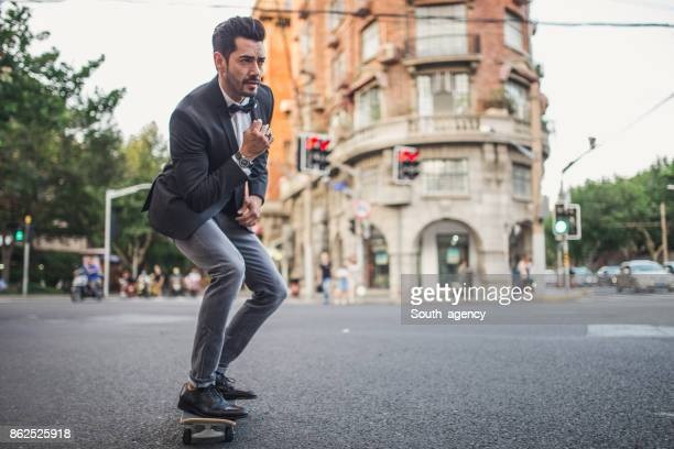 Elegant skater on the street