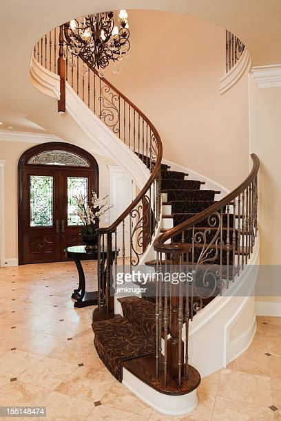 Elegant staircase in an upscale home.