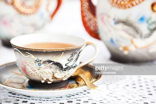 Elegant teacup with dragon design