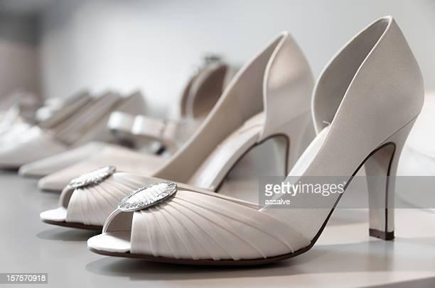 elegant wedding shoe in a weddingstore