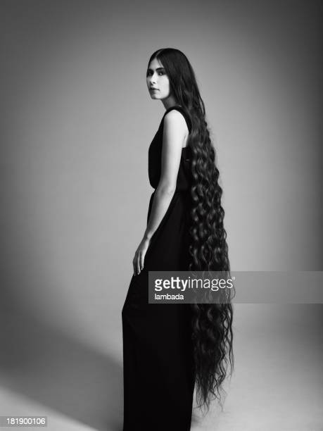 Elegant woman with long hair