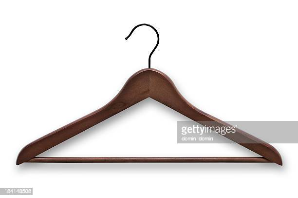 Elegant, wooden, dark brown clothes hanger isolated on white