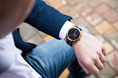 Elegant young business man's hand with fashion no brand wrist watch, men fashion and accessories closeup shot