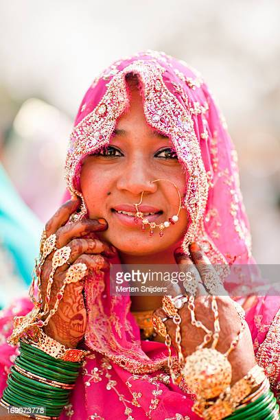 Elegantly decorated and dressed Indian bride