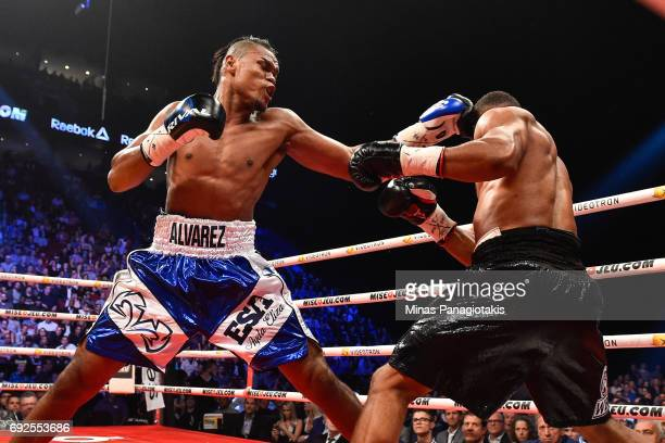 Eleider Alvarez connects with a left jab against Jean Pascal during the WBC light heavyweight silver championship match at the Bell Centre on June 3...