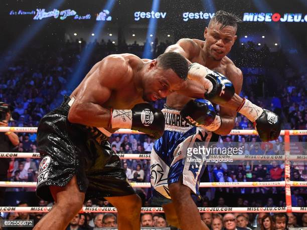 Eleider Alvarez connects with a punch against Jean Pascal during the WBC light heavyweight silver championship match at the Bell Centre on June 3...