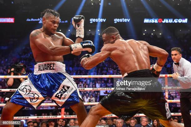 Eleider Alvarez defends himself against Jean Pascal during the WBC light heavyweight silver championship match at the Bell Centre on June 3 2017 in...