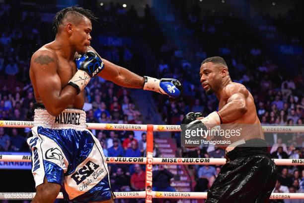 Eleider Alvarez keeps his distance against Jean Pascal during the WBC light heavyweight silver championship match at the Bell Centre on June 3 2017...