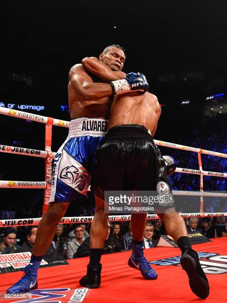 Eleider Alvarez locks up with Jean Pascal during the WBC light heavyweight silver championship match at the Bell Centre on June 3 2017 in Montreal...