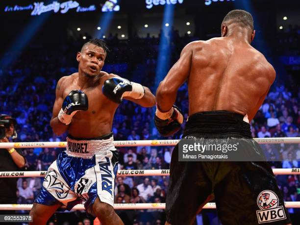 Eleider Alvarez prepares to throw a punch against Jean Pascal during the WBC light heavyweight silver championship match at the Bell Centre on June 3...