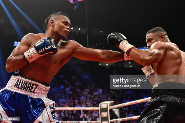Eleider Alvarez punches Jean Pascal during the WBC light heavyweight silver championship match at the Bell Centre on June 3 2017 in Montreal Quebec...