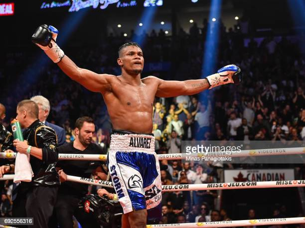 Eleider Alvarez reacts after his fight against Jean Pascal during the WBC light heavyweight silver championship match at the Bell Centre on June 3...