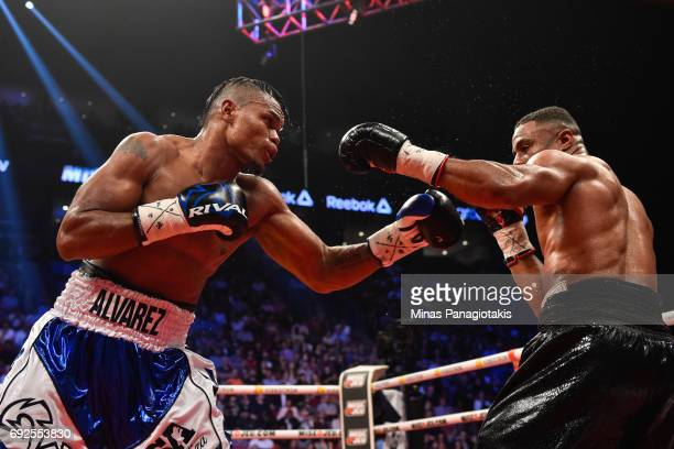 Eleider Alvarez throws a punch against Jean Pascal during the WBC light heavyweight silver championship match at the Bell Centre on June 3 2017 in...