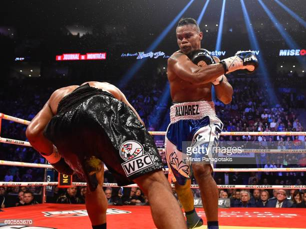 Eleider Alvarez throws a right hook against Jean Pascal during the WBC light heavyweight silver championship match at the Bell Centre on June 3 2017...